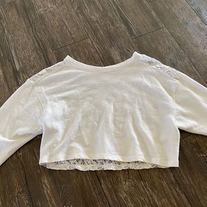 hollister cropped laced back sweatshirt